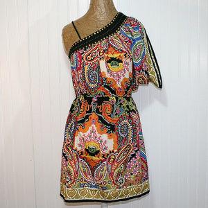 Angie Size Small One Shoulder Boho Paisley Dress